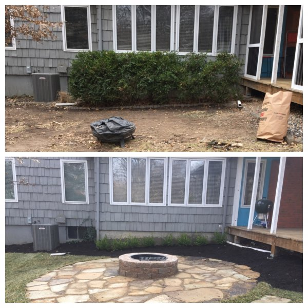 Flagstone-patio-with-manufactured-block-fireplace-before-after