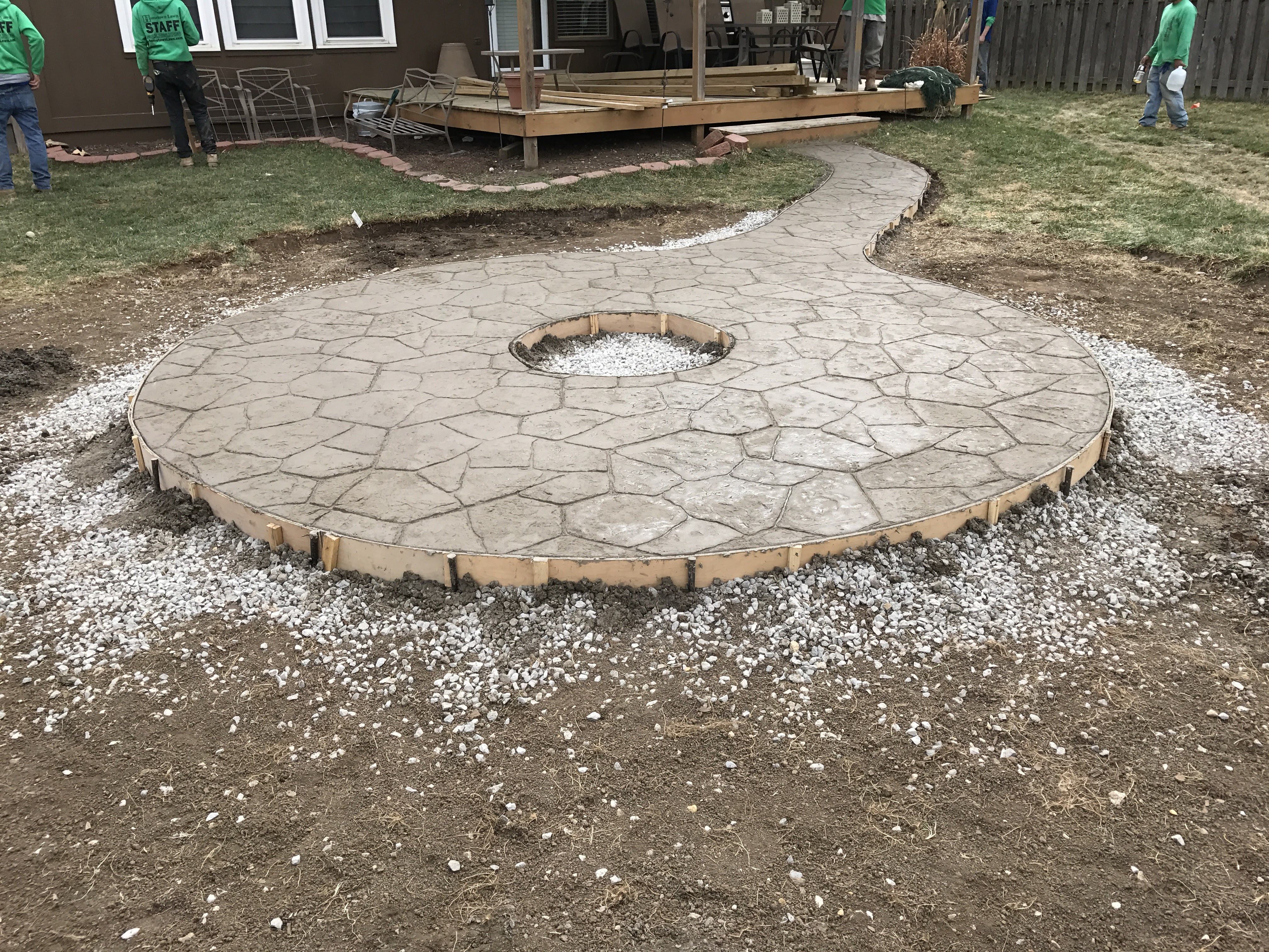 HTL – Concrete – Stamped – Colored – Firepit Patio – 1 – Hometown