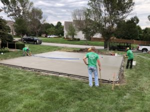 concrete base construction for backyard basketball courts