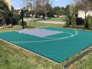 Kansas City outdoor athletic court for basketball with painted sport tiles